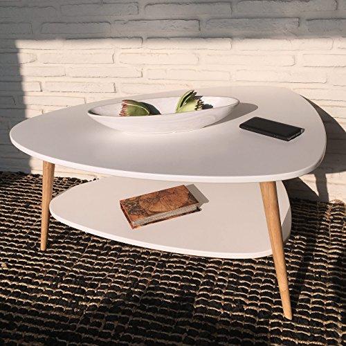 Wholesaler GmbH Couchtisch rund skandinavisch in weiß Holz Wohnzimmertisch mit Ablage, 90 x 67 x 45 cm - Sofatisch Beistelltisch