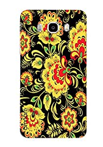 Omnam Yellow Flower Pattern On Black Background Printed Designer Back Cover Case For Samsung Galaxy J5 (2016)