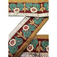Vintage Sari Border 1YD epoca usate ricamato indiano Trim Maroon Ribbon Lace