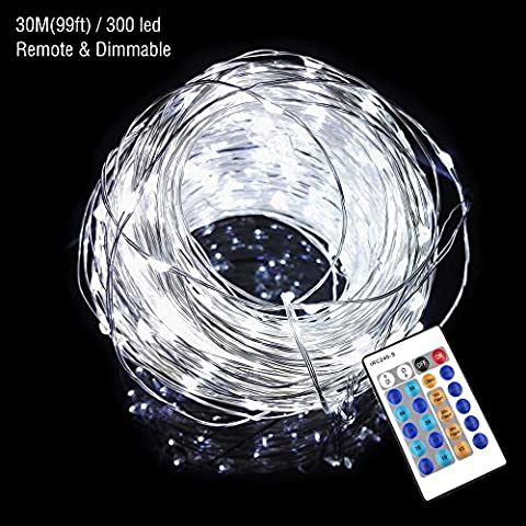 Dimmable Remote Control String Lights 30m/98ft Waterproof 300leds Copper Wire Starry Fairy Lights White Bedroom Wedding Party Indoor Outdoor Festival Decor