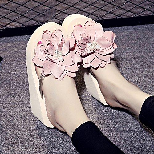 7cm Sandales Chaussures de plage flip flop pour femmes / filles (18-40 ans) ( Couleur : Blanc , taille : EU39/UK6/CN39 ) Beige