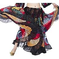Danzcue Falda de Danza Flamenca Estampada de Mariposa Colorida para Mujer Mediano Escarlata