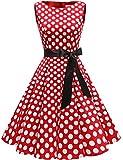Gardenwed Damen 1950er Vintage Cocktailkleid Rockabilly Retro Schwingen Kleid Faltenrock Red White Dot 3XL