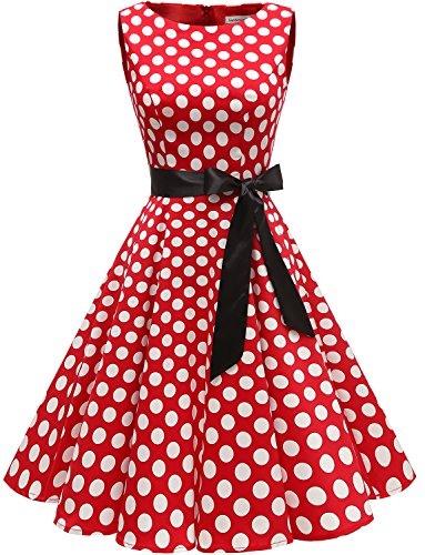 Gardenwed Damen Vintage 1950er Partykleid Rockabilly Ärmellos Retro Cocktailkleid Red White Dot S