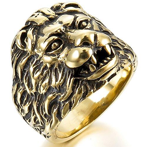 MunkiMix Acier Inoxydable Anneau Bague Bague Or Ton Noir Lion Tête Taille 67 Homme