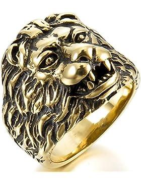 MunkiMix Edelstahl Ring Band Golden Ton Schwarz Löwe Kopf Herren