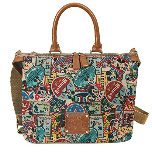 ililily Disney Mickey Mouse Pattern Patch Vintage Casual Shoulder Bag Brown