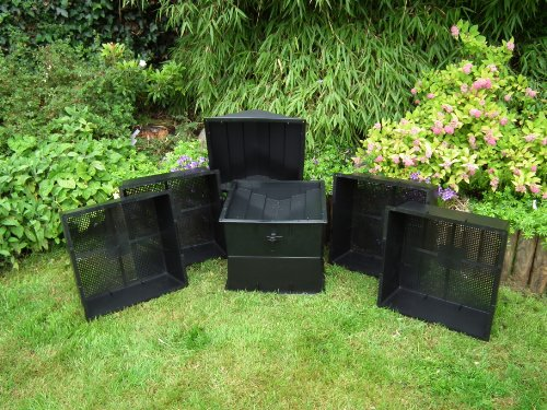 Wormcity UK Made Wormery 4 Composting Trays (100 Litre Size) Black - INCLUDES 500g WORMS