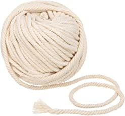 HITSAN INCORPORATION 50m 6mm Natural Beige Cotton Twisted Cord Braided Rope Craft Macrame String Wire DIY Craft