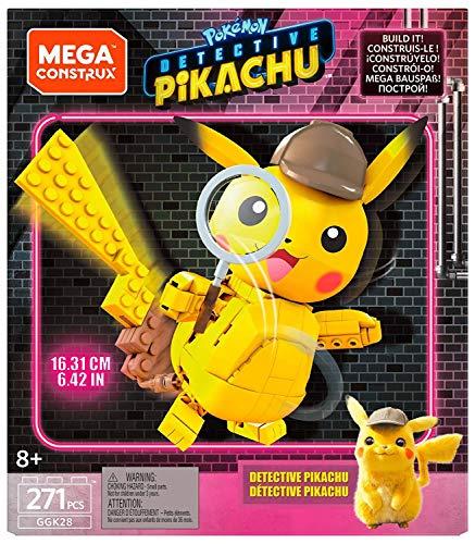 Mega Construx Detective Pikachu Figura construible, Juguete de Construcción de la Película para Niños +6 Años (Mattel GGK28)