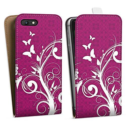 Apple iPhone X Silikon Hülle Case Schutzhülle Pink Schmetterlinge Blumen Downflip Tasche weiß