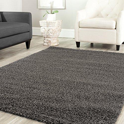Star Shaggy Teppich Farbe Hochflor Langflor Teppiche Modern für Wohnzimmer Schlafzimmer Uni Farben - Teppich-Home, Maße:70x140 cm, Farbe:Anthrazit