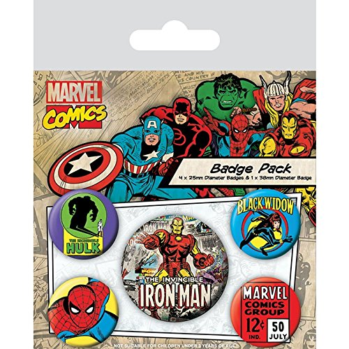 Marvel Comics Pack 5 Chapas Iron Man