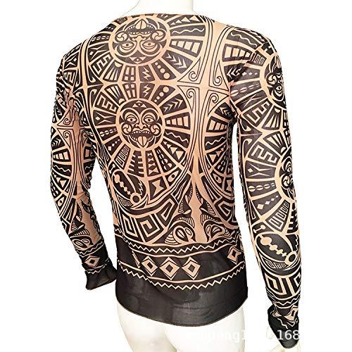 Pad Kostüm Schulter - tzxdbh Tattoo Tattoo Langarm T-Shirt Damen Fan Digitaldruck Hemd Musik Festival Kostüm L110 170CM-182CM 60KG-110KG