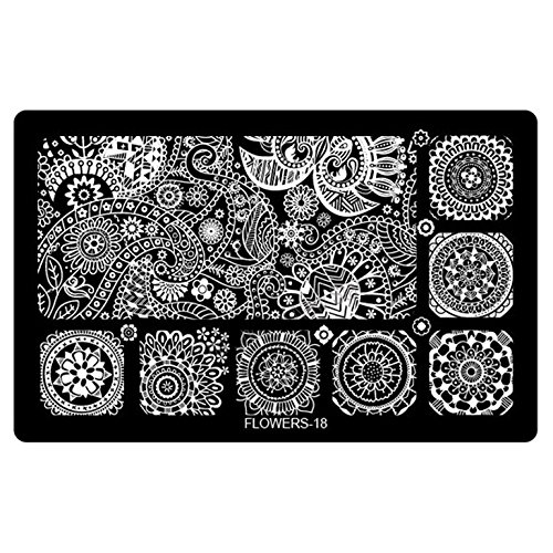 Plaque stamping tampon pour les ongles collection FLOWERS-flower-18
