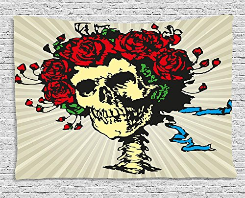 MLNHY Rose Tapestry, Tattoo Art Style Graphic Skull in Red Flowers Crown Halloween Composition Print, Wall Hanging for Bedroom Living Room Dorm, 80 W X 60 L Inches, Beige Multicolor