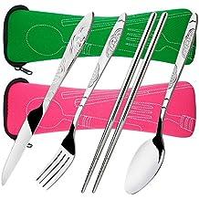 8 piezas de cubiertos cuchillo, tenedor, cuchara, palillos, SENHAI 2 paquetes de acero inoxidable inoxidable Vajilla Vajilla con el caso de transporte para viajar Camping Picnic de trabajo de senderismo (verde, rosa)