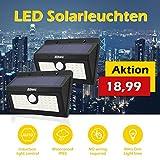 2x Led Solarleuchte Aussenlampe Wandleuchte mit Bewegungsmelder, aussen Solarlampen mit 45 Leuchtstarker LEDs für Treppenaufgang Garten Terrasse Balkon
