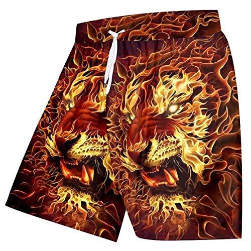 GUXCXMYBB OGKB Neueste Frauen/Männer 3D Gedruckt Flame Lion Board Shorts Unisex Kurze Hosen Plus Size Strand Shorts Lose Badehose 5XL