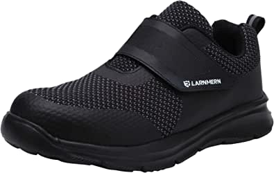 LARNMERN Safety Trainers for Men Women,S1/SBP SRC Safety Shoes Knit Breathable Lightweight Reflective Work Shoes