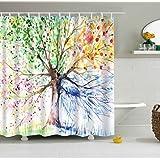 HuiMeiKang water-ink Árbol de colores cortina de ducha de 100% poliéster impermeable cortinas de ducha 3d impresión fácil de instalar Cable de respetuosa con el medio ambiente, secado rápido, libre 12 ganchos (71 x 71 en)