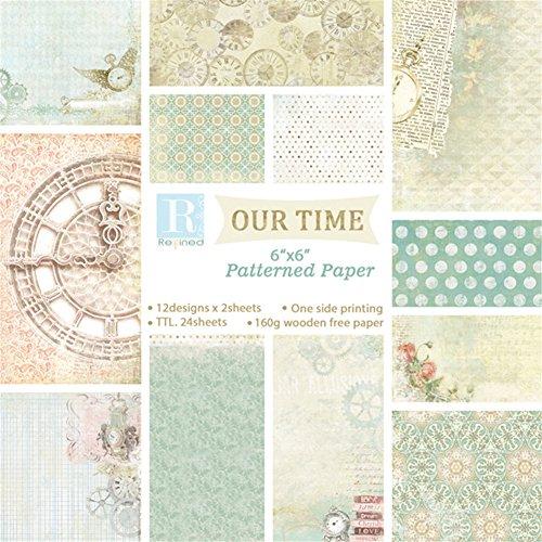 Gaeruite Scrapbook Karten Hintergrund Papier , Hintergrundpapier mit einseitigem Muster für DIY Album Craft Papier Packs 15 x 15cm