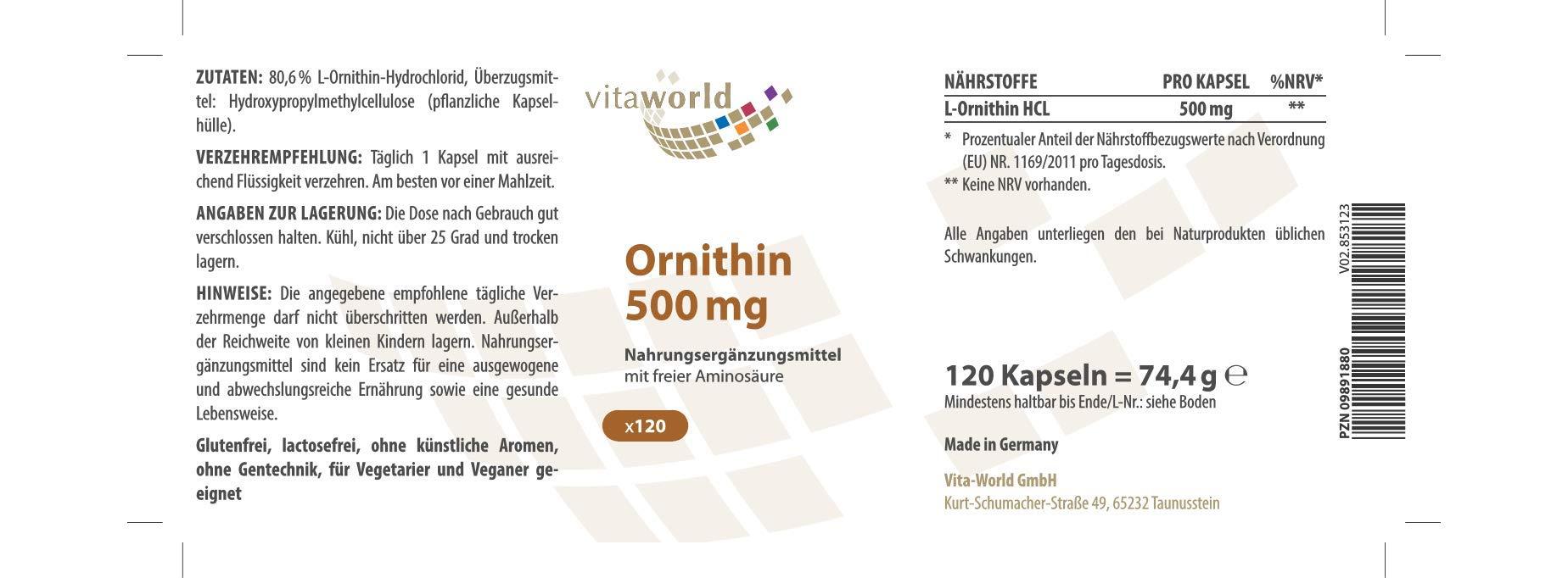 Vita World L-Ornithine 500mg 120 Vegetarian Capsules Made in Germany
