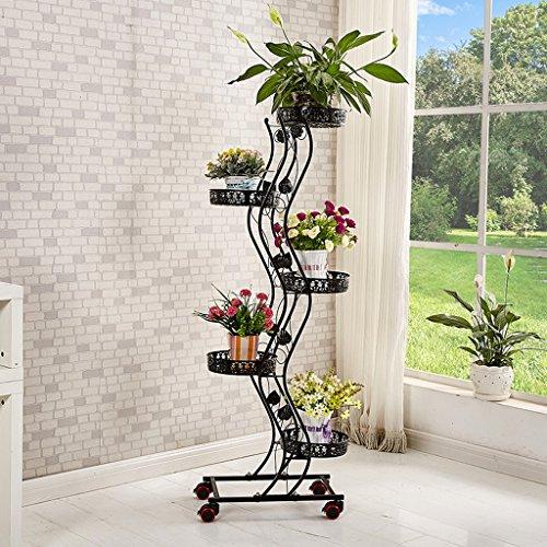 Krawatte - Stil Rad Blumenständer Boden - Stil Blumenbeet Rahmen Wohnzimmer Balkon Regal 5 Schichten (47 * 143cm) ( Farbe : Schwarz )