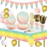 159pcs Gradient Party Supplies Juego de vajilla Platos de papel Tazas Servilletas Pajitas de papel Mantel y globos de fiesta