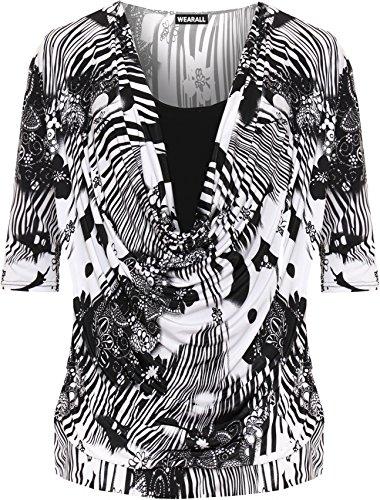 WEARALL Damen Plus Zusammenfassung Top Damen Einfarbig Druck Kapuze Hals 3/4 Hülle Insert - 42-56 Schwarz Weiß