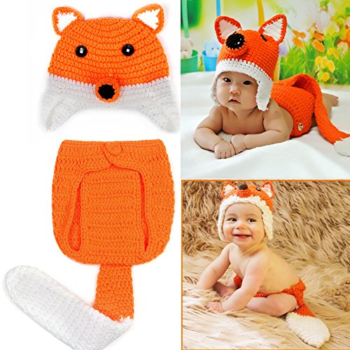 Sunfire Fox Cartoon Tier Cute Baby Fotografie Kleidung Crochet Knit Kostüm Outfits