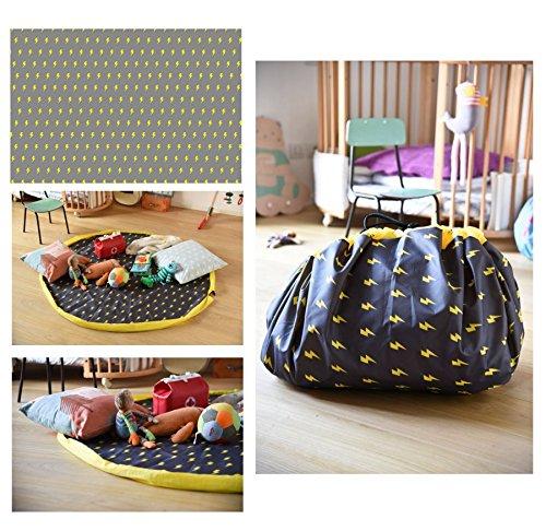 TXT Pusher Alfombra Bolsa Rollo Puerta juguetes Impresión Flash Diam 140cm Gris Decoración con fulmini amarillas