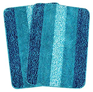 Saral Home Soft Microfiber Bath Mat (Turquoise, 50x70cm) - Pack of 2