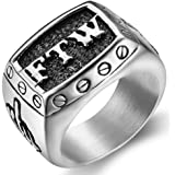 """Anello in acciaio inossidabile con sigla in lingua inglese: """"FFW"""" e incisione del dito medio, ideale per piloti e motociclist"""
