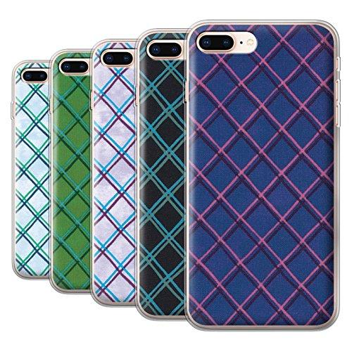 Stuff4 Gel TPU Hülle / Case für Apple iPhone 8 Plus / Grün Muster / Kreuz Muster Kollektion Pack (15 pcs)