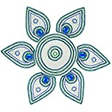 Anjali Handicrafts Acrylic Kundan Art Rangoli (15 Cm X 3 Cm X 12 Cm, Green And Blue)