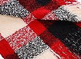 Strickschal mit Fransen einfarbig lang XXL Wollschal Oversized Winterschal Herren Damen Unisex Neverless® rot
