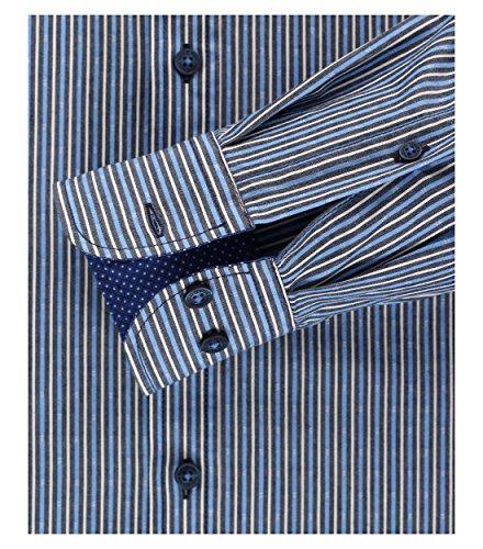 CASAMODA Herren Freizeithemd Hellblau - gestreift (100)