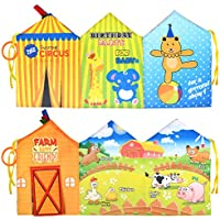 Tumama Newborn Infant First Cloth Books Baby Toy Clip On Pram Pack of 2