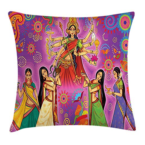 ZTLKFL Bengal Throw Pillow Cushion Cover, Asian Woman in Colorful Dress Cartoon Style Figures on Paisley and Flower Backdrop, Decorative Square Accent Pillow Case, 18 X 18 inches, Multicolor Paisley Printed Silk Dress