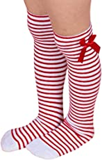 "Voberry Baby-Girl's Kid Sweet Princess Bowknot Striped Boot Socks Winter Knee High Warm Socks Length: 35cm/ 13.77"" Red"