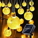Solares Cuerda Jardín Luces,GPISEN [8 Modos] 21ft 30LED Crystal Ball Blanco cálido Exterior Impermeable Luces para Jardín, Hogar,Terraza, Boda, Fiesta, Navidad Lámpara Iluminación