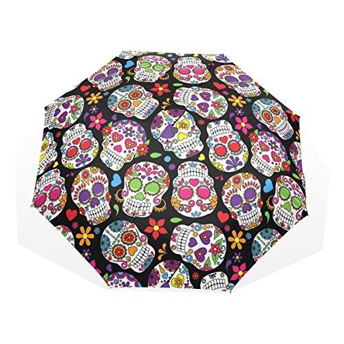 GUKENQ - Paraguas de Viaje, diseño de Calavera de azúcar Muerto, Ligero, antiUV, para Hombres, Mujeres, niños, Resistente al Viento, Plegable, Paraguas Compacto