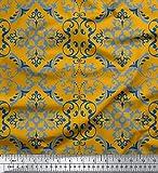 Soimoi Gold Poly Georgette Stoff Vektor-Design Damast Stoff