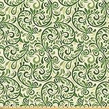 ABAKUHAUS Grün Stoff als Meterware, Curly verzierten Blatt