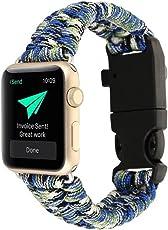 YOUMI Für Apple Watch Serie 1/2 42mm, 2017 Neue High Strength Nylon Seil Armband Uhr Ersatz Strap Band mit Kompass (Camouflage Blue)