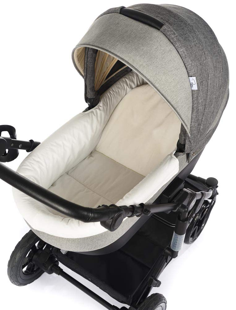 Roma Moda Pram, Includes Carry Cot, Rain Cover, Cup Holder and Bag - Grey Roma Suitable from newborn - 15kg - Raised backrest in the carry cot Lightweight aluminium frame - All round suspension - Easy fold All terrain tyres (rear air tyres and front foam tyres) Large hood with viewing window 4