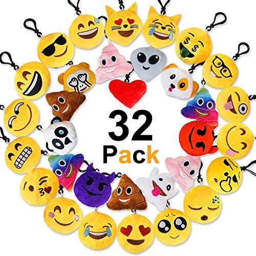 Jansroad 32 Pcs Mini Emoción Llavero Felpa Peluche - Llavero emoji de cara redonda Perfecto para la decoración de bolsos mochilas y llaves - Regalitos divertidos para las fiestas de los niños-Colgante de decoración para coche,6cm
