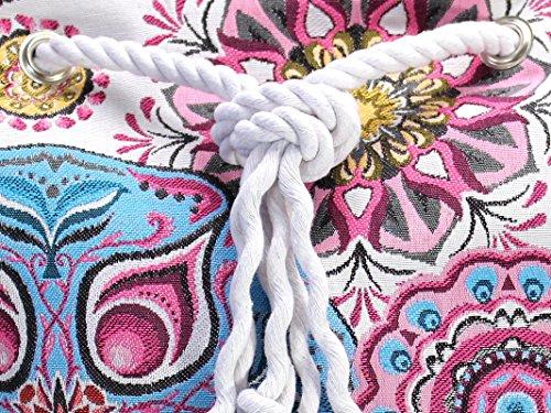 Lila Rucksack mit Mandala, vegane Yoga Sporttasche, großer Seesack aus Canvas - 6