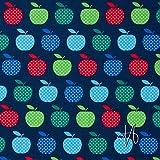 MIRABLAU DESIGN Stoffverkauf Baumwolle Batist Äpfel rot grün dunkelblau (23-008M), 0,5m